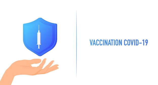 Coronavirus vaccine vaccination covid19 world map with a syringe on a shield protection health