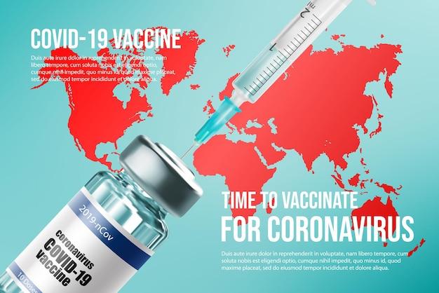 Coronavirus vaccine. vaccination in the world, bottle and syringe
