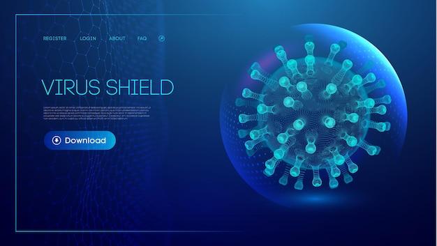 Coronavirus vaccine vector background stop coronavirus concept blue virus shield