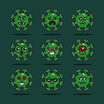 漫画のスタイルで設定されたコロナウイルスのベクトル文字プレミアムベクトル