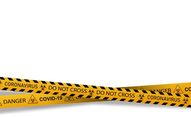 Coronavirus warning sign in a triangle and warning tape   illustration.