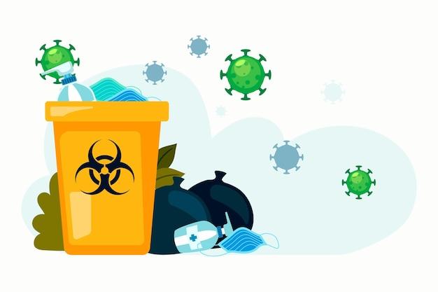 코로나 바이러스 폐기물 배경