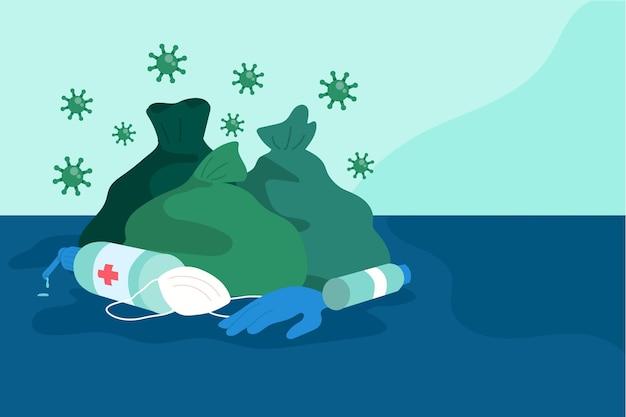 코로나 바이러스 폐기물-배경