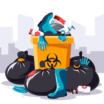 Coronavirus waste - background