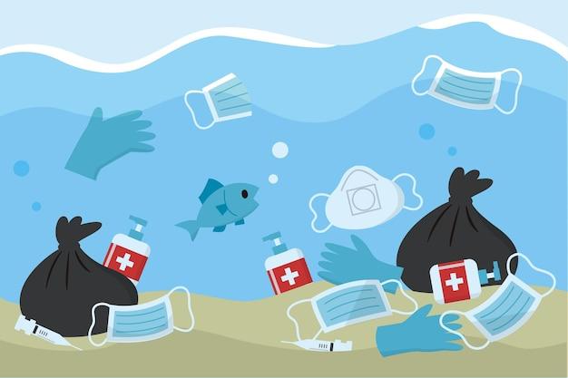 海の背景にあるコロナウイルス廃棄物