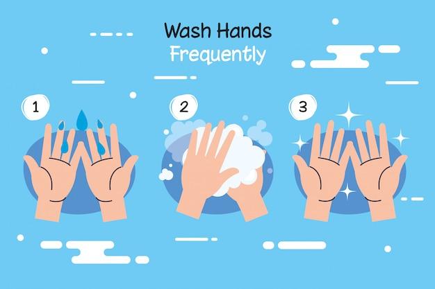 Coronavirus with wash hands campaign