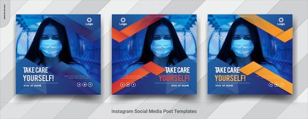 Coronavirus предупреждение социальных медиа квадратный пост шаблонов дизайна