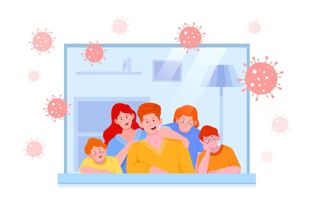 Семья, останавливающаяся в закрытом помещении, и coronavius бактерии на открытом воздухе