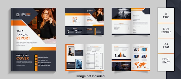 Corporate 8 page annual report brochure design with creative shapes and mockup