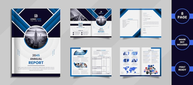 Corporate 8 page brochure design with creative shapes and information on a white clean background.