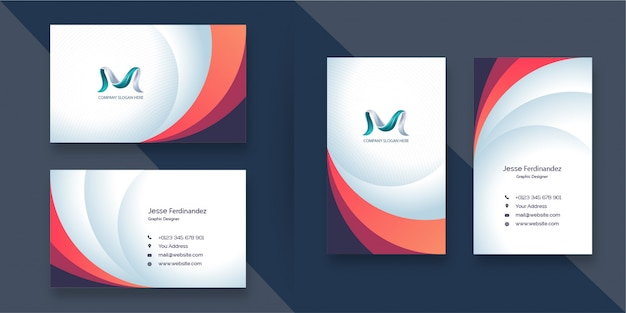 Corporate abstract layered style multi color business card template