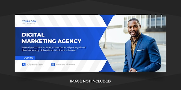 Корпоративный и цифровой бизнес-маркетинг социальные сети facebook обложка премиум векторный дизайн шаблона