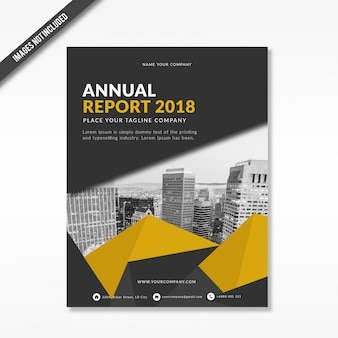 Corporate annual report 2018 cover template with triangle