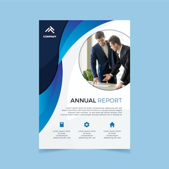 Corporate annual report template with photo
