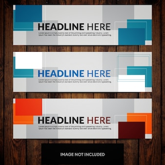 Corporate banner design templates with blue and orange rectangles