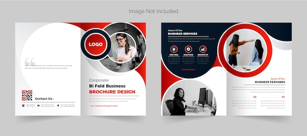 Corporate bi fold business brochure design template red color abstract modern theme