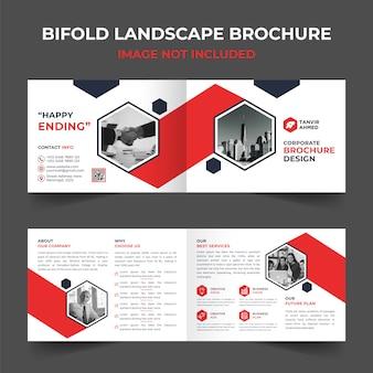 Corporate bifold landscape brochure design template