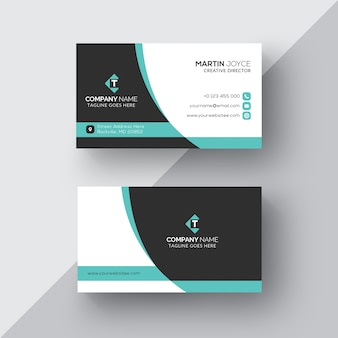 Corporate Black and White with Cyan Business Card
