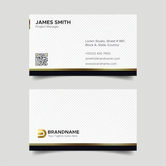 Corporate black and white luxury business card design