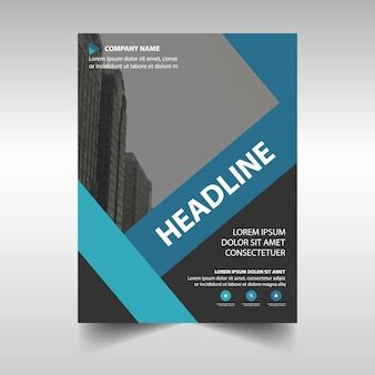 Corporate blue brochure template with a geometric composition