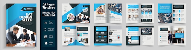 Corporate blue brochure with 16 pages blue gradient layout
