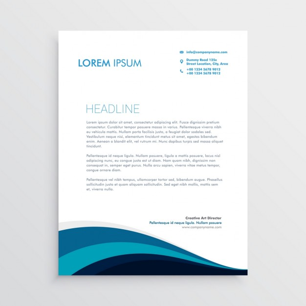 Corporate blue brochure with wavy shapes