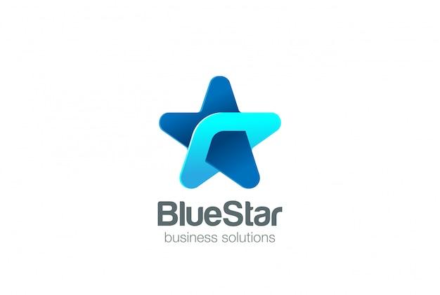 企業ブルースターロゴ抽象的なデザインテンプレート。ソーシャルビジネステクノロジーネットワークロゴタイプコンセプト