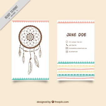 Corporate boho card with dream catcher