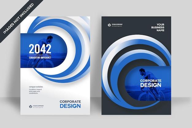 A4の企業のブックカバーデザインテンプレート。パンフレット、年次報告書、雑誌、ポスター、ビジネスプレゼンテーション、ポートフォリオ、チラシ、バナー、ウェブサイトに適応できます。