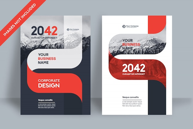 A4の企業の本の表紙のデザインテンプレート。