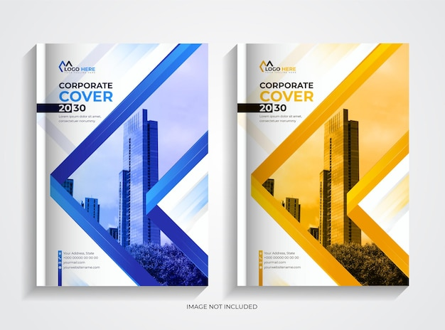 Corporate book cover design template set with creative shapes