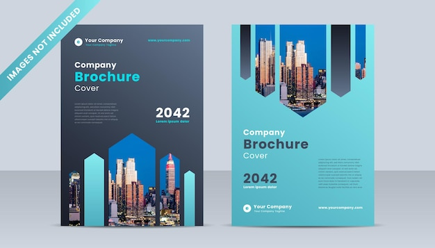 Corporate book cover design template with blue and grey gradient color theme