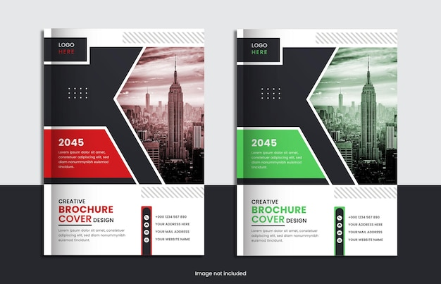 Corporate book cover set design with red, green color and creative shape.