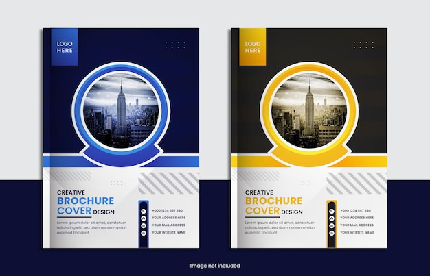 Corporate book cover set design with two color and minimal round shape.