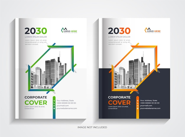 Corporate book cover template set