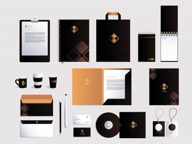 Corporate branding identity over white