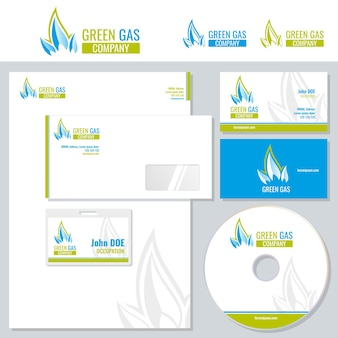 Corporate branding template with gas industry logo.