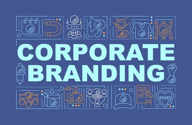 コーポレートブランディングワードコンセプトバナー。ビジネス広告。海軍の背景に線形アイコンとインフォグラフィック。孤立した創造的なタイポグラフィ。テキストとベクトルアウトラインカラーイラスト