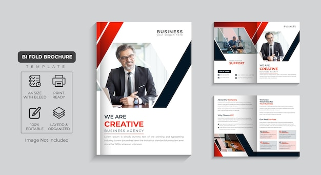 Corporate brochure 4 page company profile and multi pages business brochure design premium vector