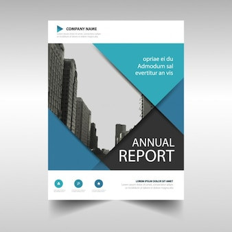 Corporate brochure black and blue with geometric sections