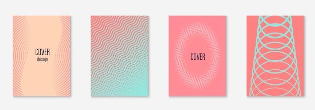 企業パンフレットの表紙。ピンクとターコイズ。シンプルな壁紙、プレゼンテーション、証明書、招待状のコンセプト。ミニマリストの幾何学的要素を備えた企業パンフレットの表紙。