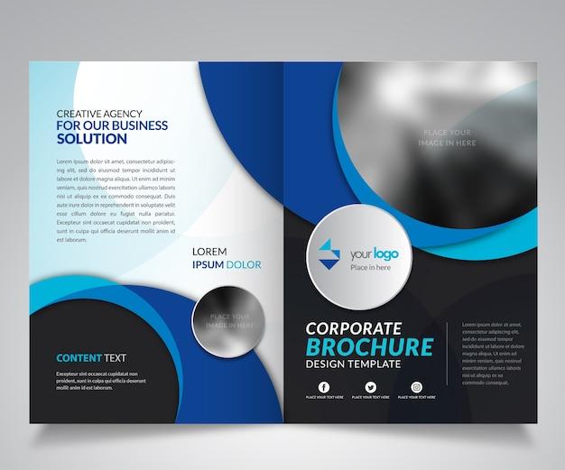 Corporate brochure design template with blue shape color