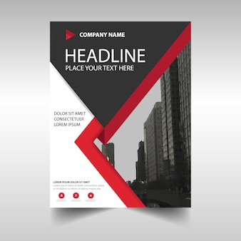 Corporate brochure geometric with red lines