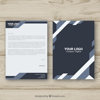 Letterhead template vectors photos and psd files free download corporate brochure grey geometric shapes spiritdancerdesigns Image collections