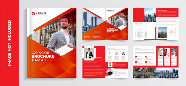 Corporate brochure template, company profile brochure template, business brochure template design, pages brochure template design
