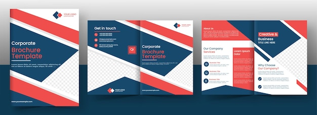 Corporate brochure template or cover page layout in front and back view.