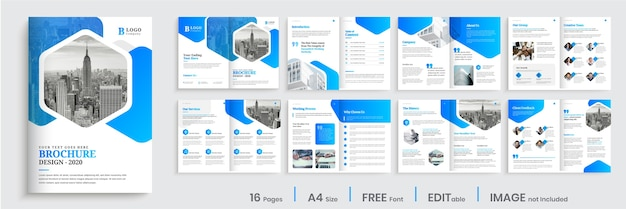 Corporate brochure template design with modern blue gradient shapes