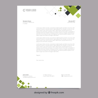 Corporate brochure with black and green geometric shapes