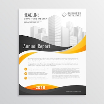 Corporate brochure with black and yellow wavy shapes