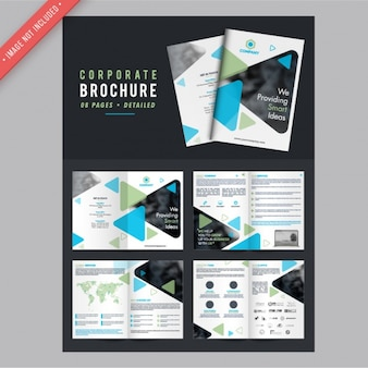 Corporate brochures with green and blue shapes